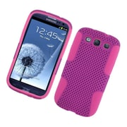 Insten TPU Rubber Hard PC Candy Skin Mesh Case Cover For Samsung Galaxy S3 - Purple/Hot Pink