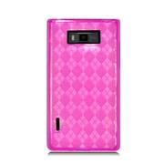Insten Checker Rubber Clear Case For LG Splendor US730 / Venice LG730 - Hot Pink