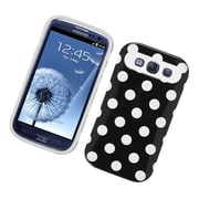 Insten Two-Tone/NightGlow Polka Dots Jelly Hybrid Hard Silicone Case Cover For Samsung Galaxy S3 - Black/White