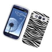 Insten Two-Tone/NightGlow Zebra Jelly Hybrid Hard Silicone Case Cover For Samsung Galaxy S3 - Black/White