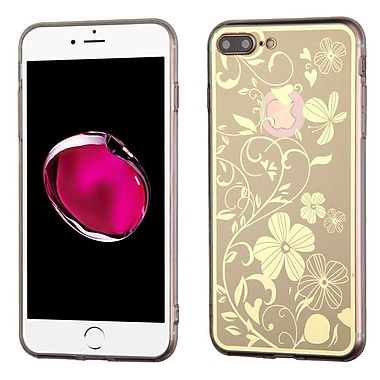 Insten Phoenix-tail Flowers Gel Cover Case For Apple iPhone 7 Plus - Gold/White