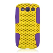 Insten TPU Rubber Hard PC Candy Skin Mesh Case Cover For Samsung Galaxy S3 - Yellow/Purple