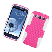 Insten TPU Rubber Hard PC Candy Skin Mesh Case Cover For Samsung Galaxy S3 - Hot Pink/White