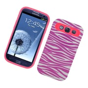 Insten Two-Tone/NightGlow Zebra Jelly Hybrid Hard Silicone Case Cover For Samsung Galaxy S3 - Hot Pink/White