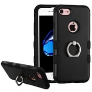 Insten Hard Hybrid Silicone Cover Case w/Ring stand For Apple iPhone 7 - Black