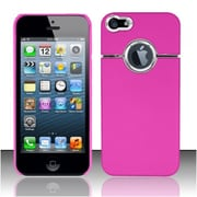 Insten Hot Pink Rubberized Hard Case Cover w/ Aluminum Line For Apple iPhone SE 5S 5