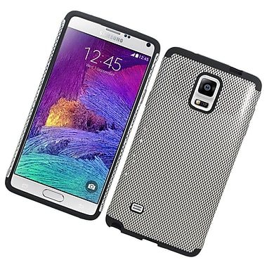 Insten Carbon Fiber Hard Hybrid Rubber Silicone Case For Samsung Galaxy Note 4 - Silver/Black