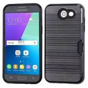 Insten Brushed Hybrid Hard TPU Protective Case (with Card Wallet) For Samsung Galaxy Express Prime 2 / J3 (2017) - Black