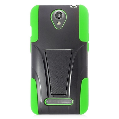 Insten Hard Hybrid Plastic Silicone Case w/stand For ZTE Obsidian - Black/Green