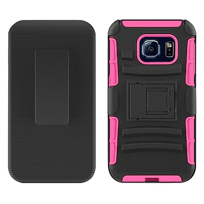 Insten Hard Dual Layer Plastic Silicone Case w/Holster For Samsung Galaxy S7 - Black/Hot Pink
