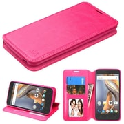 Insten Flip Leather Fabric Cover Case w/stand/card slot/Photo Display For Coolpad Catalyst - Hot Pink