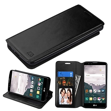 Insten Flip Leather Fabric Case w/stand/card holder/Photo Display For LG G Stylo 2 Plus - Black