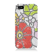 Insten Flowers Hard Rhinestone Case For Apple iPhone 5/5S - Red/Green