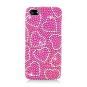 Insten Hearts Hard Diamond Case For Apple iPhone 5/5S - Hot Pink