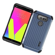 Insten Carry On Hybrid Dual Layer Rubberized Hard Silicone Protective Case Cover For LG V20 - Blue/Black