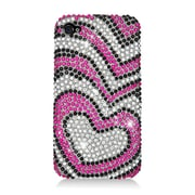 Insten Hearts Hard Diamante Case For Apple iPhone 4/4S - Hot Pink