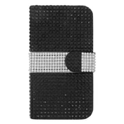 Insten Flip Leather Wallet Bling Case with Card slot For Samsung Galaxy S6 Edge - Black/Silver