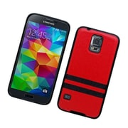 Insten Leather Fabric TPU Case For Samsung Galaxy S5 - Red/Black
