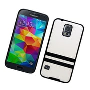 Insten Leather Fabric TPU Case For Samsung Galaxy S5 - White/Black