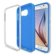 Insten Rubber Hybrid Hard Case For Samsung Galaxy S6 - Blue/Silver