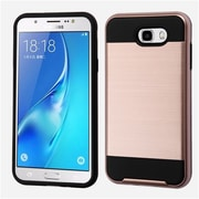 Insten Brushed Hybrid Dual Layer Hard TPU Protective Case For Samsung Galaxy J7 (2017) / Sky Pro - Rose Gold/Black