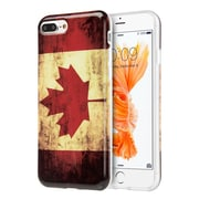 Insten Canada National Flag Patriotic Vintage Flag Series IMD TPU Rubber Case For Apple iPhone 7 Plus - Red/White