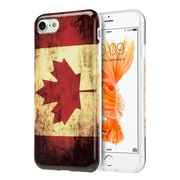 Insten Canada National Flag Patriotic Vintage Flag Series IMD TPU Rubber Skin Case Cover For Apple iPhone 7 - Red/White