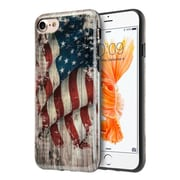 Insten Faded Glory Patriotic Vintage Flag Series IMD TPU Rubber Skin Case Cover For Apple iPhone 7 - White/Red
