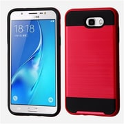 Insten Brushed Hybrid Dual Layer Hard TPU Protective Case For Samsung Galaxy J7 (2017) / Sky Pro - Red/Black