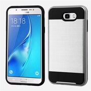 Insten Brushed Hybrid Dual Layer Hard TPU Protective Case For Samsung Galaxy J7 (2017) / Sky Pro - Silver/Black