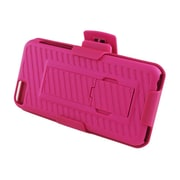Insten Hard Rubberized Stand Case Holster Clip for Apple iPhone 5C - Hot Pink