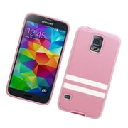 Insten Leather Fabric TPU Case For Samsung Galaxy S5 - Pink/White