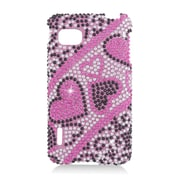 Insten Hearts Hard Bling Case For LG Optimus F3 LS720 - Hot Pink