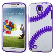 Insten Baseball Rubber Cover Case For Samsung Galaxy S4/S4 (LTE version) - Clear/Purple