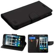 Insten Book-Style Leather Fabric Case w/stand/card holder For Alcatel One Touch Allura / Fierce 4 / Pop 4+ - Black/White