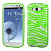 Insten Zebra Gel Cover Case For Samsung Galaxy S3 - Green/Clear