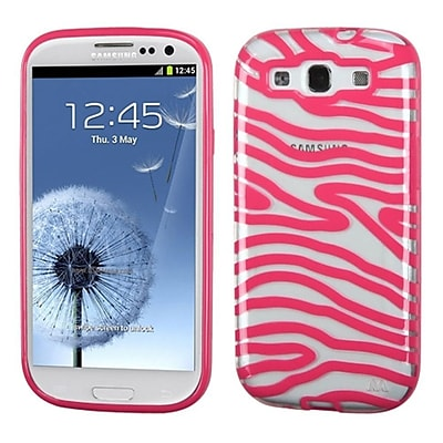 Insten Zebra Rubber Cover Case For Samsung Galaxy S3 - Pink/Clear 24095292
