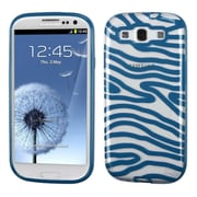 Insten Zebra Rubber Cover Case For Samsung Galaxy S3 - Blue/Clear