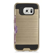Insten Hard Dual Layer Silicone Case with card slot holder For Samsung Galaxy S7 Edge - Gold/Black