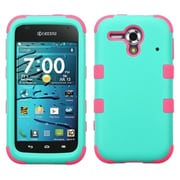 Insten Tuff Hard Dual Layer Rubber Coated Silicone Case For Kyocera Hydro Edge C5215 - Turquoise/Hot Pink