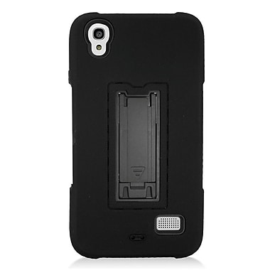 Insten Symbiosis Skin Dual Layer Rubber Hard Case w/stand For Huawei Pronto - Black