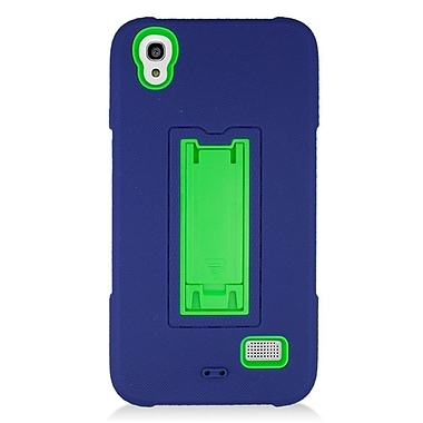 Insten Symbiosis Silicone Dual Layer Rubber Hard Case w/stand For Huawei Pronto - Blue/Green