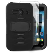 Insten Soft Dual Layer Rubber Hard Case with stand For Alcatel One Touch Evolve 2 - Black