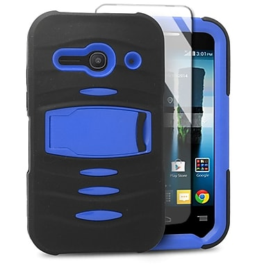Insten Soft Dual Layer Rubber Hard Case with stand For Alcatel One Touch Evolve 2 - Black/Blue