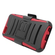 Insten Hard Hybrid Plastic Silicone Stand Case with Holster for iPhone 6 / 6s - Black/Red