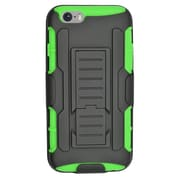 Insten Car Armor Hard Hybrid Plastic Silicone Stand Case with Holster for iPhone 6 / 6s - Black/Green