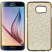 Insten Honeycomb Hard Rubber Coated Case For Samsung Galaxy S6 - White/Gold