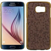 Insten Honeycomb Hard Rubber Cover Case For Samsung Galaxy S6 - Purple/Gold