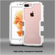 Insten Natural Frame Transparent PC Back TUFF Vivid Hybrid Case Cover For Apple iPhone 7 Plus - Ivory White/Iron Gray