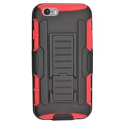Insten Car Armor Hard Hybrid Plastic Silicone Stand Case with Holster for iPhone 6 / 6s - Black/Red